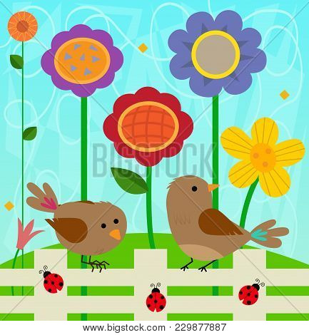 Spring Clip-art Of Two Birds And Ladybugs Standing On A Fence, And Colorful Flowers Behind Them. Eps