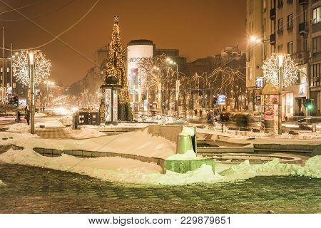 February 2018, Belgrade Serbia: Main Pedestrian Zone, Nikola Pasic Square, In Winter Time, People Pa