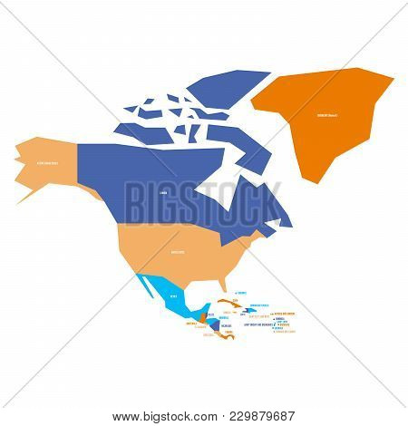 Very Simplified Infographical Political Map Of North America. Simple Geometric Vector Illustration.