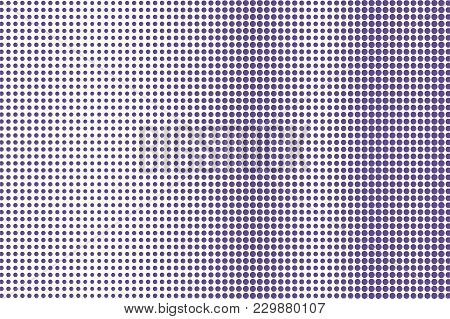 Violet White Dotted Halftone. Frequent Vertical Dotted Gradient. Half Tone Vector Background. Abstra