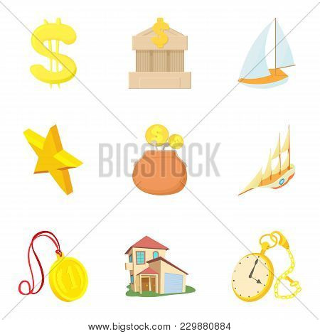 Material Welfare Icons Set. Cartoon Set Of 9 Material Welfare Vector Icons For Web Isolated On White