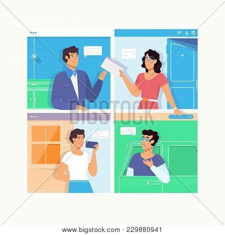 People Talking Dialog Bubble Speech.chat Messages Notification. Man Person Chatting On With Woman Is