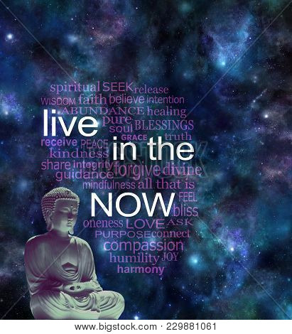 Live In The Now Word Cloud - Seated Meditating Buddha Figure With Warm Glow Against A Cosmic Night S