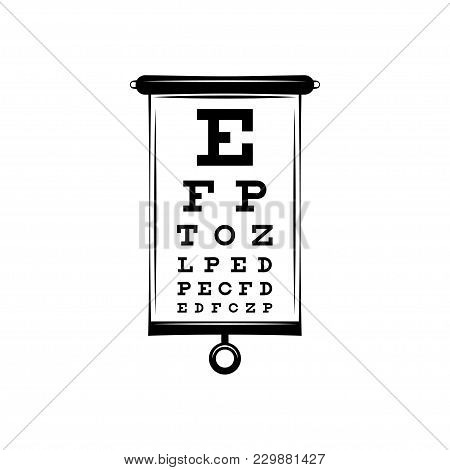 Poster For Vision Testing In Ophthalmic Study With Which The Doctor Is Testing People On The Quality