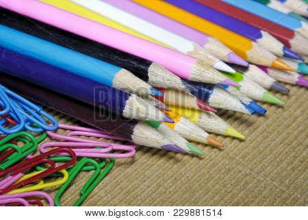 A Lot Of Colorful Penciles Set In A Row With  Paper Clips