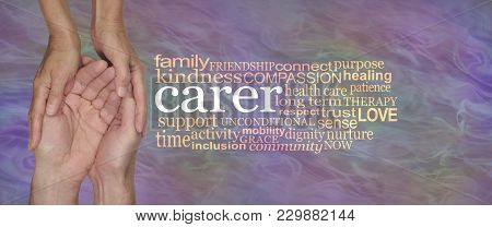 Carers Word Cloud - Female Hands Gently Cupped Around Male Cupped Hands Beside A Carer Word Cloud On