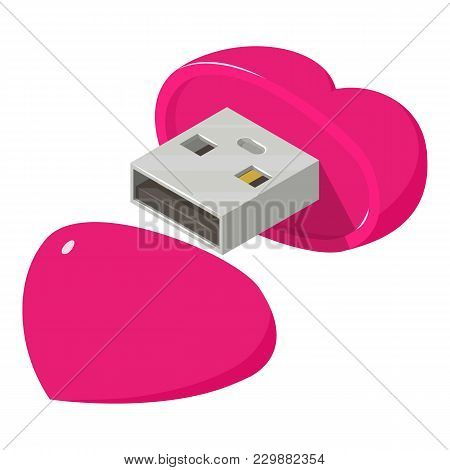 Heart Flash Drive Icon. Isometric Illustration Of Heart Flash Drive Vector Icon For Web