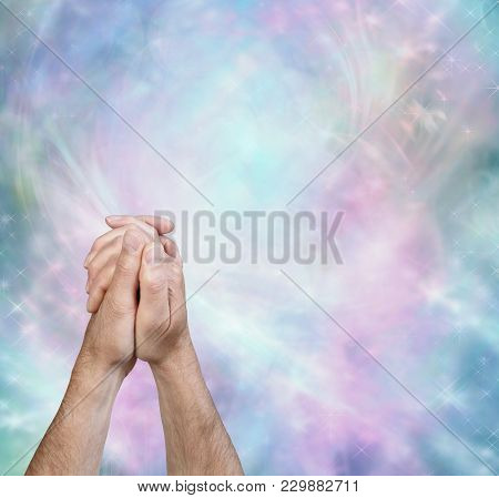Prayer Message Border Background - Male Hands In Prayer Position In Bottom Left Against A Beautiful