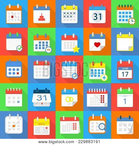 Calendar Schedule Planning Icons Set. Flat Illustration Of 25 Calendar Schedule Planning Vector Icon
