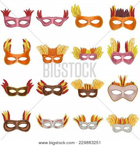 Carnival Mask Venetian Mockup Set. Realistic Illustration Of 16 Carnival Mask Venetian Mockups For W