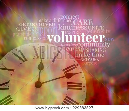 Please Volunteer Some Time Now  - Vibrant Red Modern Art Effect Background With A Clock Face Bottom