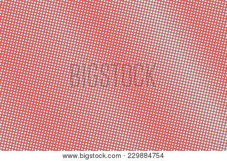 Blue And Red Dotted Halftone. Faded Dotted Gradient. Half Tone Vector Background. Abstract Futuristi