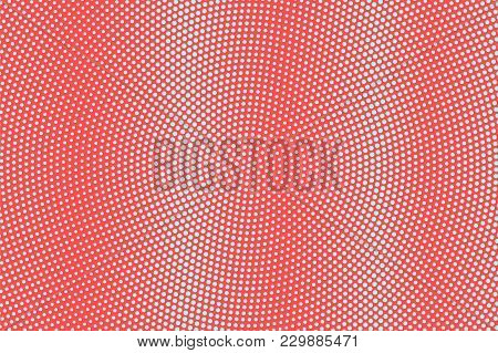 Blue And Red Dotted Halftone. Vibrant Radial Dotted Gradient. Half Tone Vector Background. Abstract