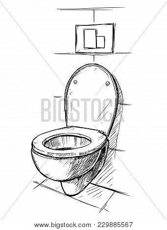 Vector Artistic Pen And Ink Hand Drawing Illustration Of Toilet Bowl In Bathroom.