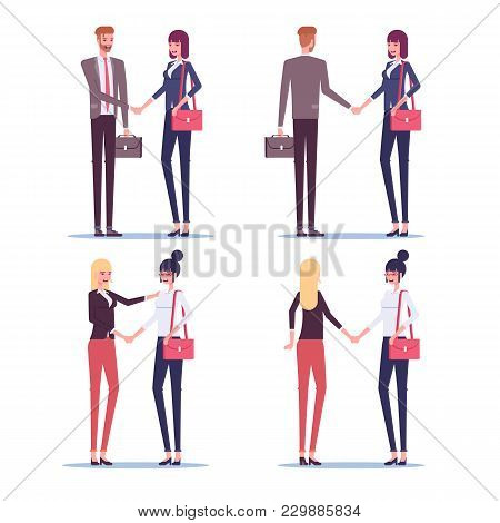Set Of Greeting Business People. Businessman And Businesswoman Shaking Hands, Two Businesswomen Gree