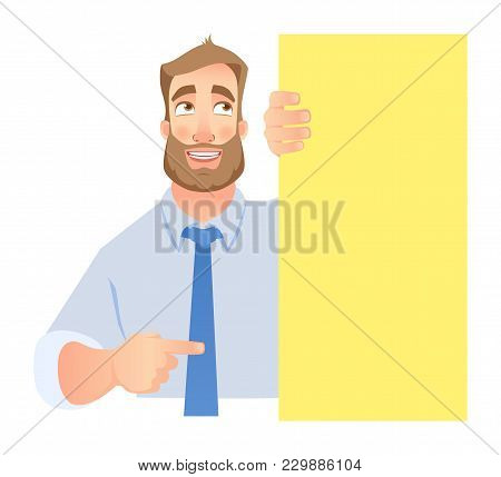 Businessman Holding Blank Signboard. Shy Businessman Points To Banner.  Illustration Set