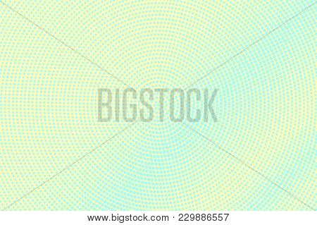 Cyan Yellow Dotted Halftone. Centered Smooth Dotted Gradient. Half Tone Vector Background. Abstract