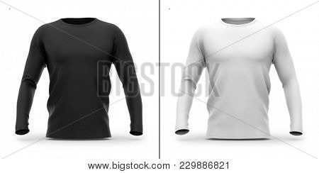 Men's crew neck t shirt with long sleeves. Front view. 3d rendering. Clipping paths included: whole object, collar, sleeve. Shadows and highlights mock-up templates.