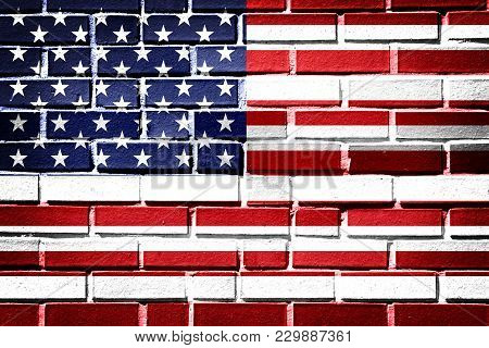 American Flag With Vintage Look On Brick Background