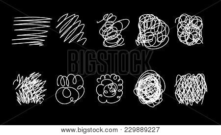 Vector Set Of Hand Drawn Scribble Line Shapes. . Set Of Hand Drawn Scribble Symbols Isolated On Whit