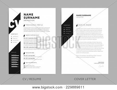 Minimalist Cv / Resume And Cover Letter - Minimal Design - Black And White Background Vector - Styli