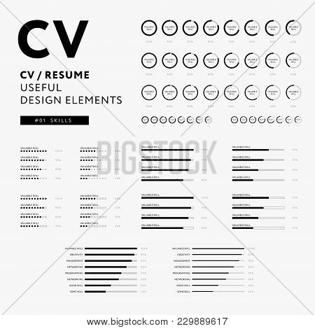 Cv Resume Design Elements - Skills Icons Set - Minimal Iconography Vector - Black And White Infograp