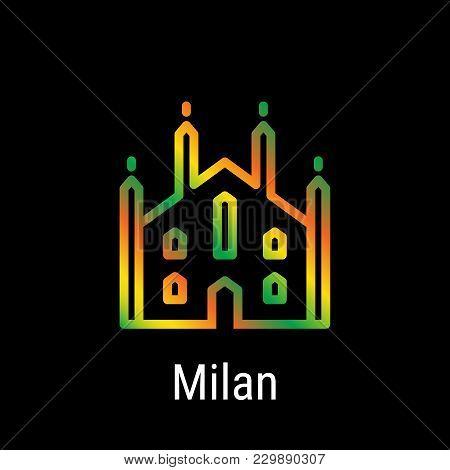 Milan, Italy Vector Line Icon. Milan Landmark - Emblem - Print - Label - Symbol. Milan Cathedral Pic