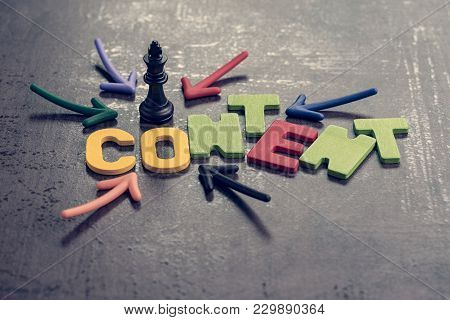 Content Is King In Advertising And Communication Concept, Colorful Arrows Pointing To The Word Conte
