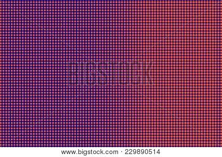 Blue Orange Dotted Halftone. Frequent Regular Dotted Gradient. Half Tone Vector Background. Artifici