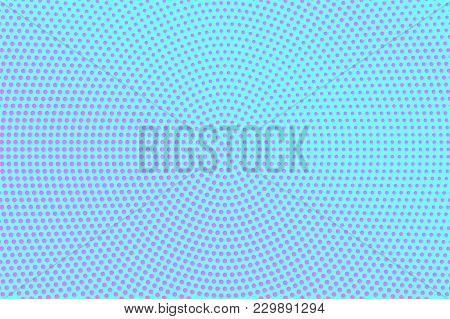 Blue Pink Dotted Halftone. Sparse Radial Dotted Gradient. Half Tone Vector Background. Artificial Te