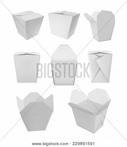 Realistic Take Away Food Box Mock Up Set Isolated On White Background  Illustration. Blank White 3d