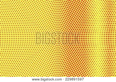 Yellow Red Dotted Halftone. Contrast Vertical Dotted Gradient. Half Tone Vector Background. Artifici