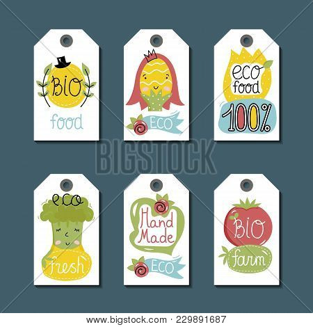 Eco And Bio Food Labels Set Isolated On Blue Background. Natural Farm Products Price Tags With Carto