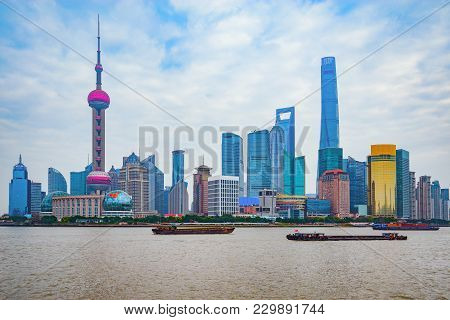 Shanghai City Center Skyline By The Huangpu River. China.