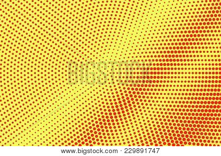 Yellow Red Dotted Halftone. Faded Diagonal Dotted Gradient. Half Tone Vector Background. Artificial