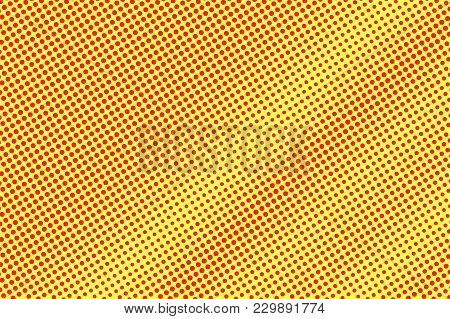 Yellow Red Dotted Halftone. Diagonal Dotted Gradient. Half Tone Vector Background. Artificial Textur