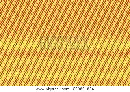 Yellow Red Dotted Halftone. Frequent Radial Dotted Gradient. Half Tone Vector Background. Artificial