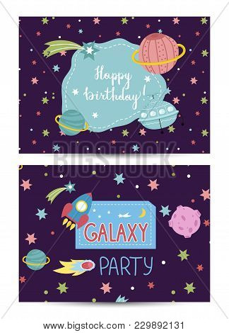 Happy Birthday Cartoon Greeting Card On Space Theme. Colorful Stars, Planets, Meteorite, Comet, Flyi