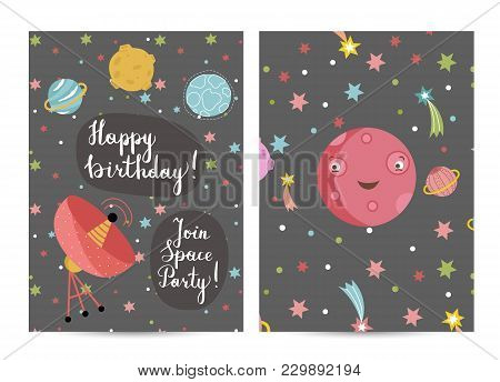 Happy Birthday Cartoon Greeting Card On Cosmic Theme. Parabolic Space Antenna, Smiling Cute Mars Pla
