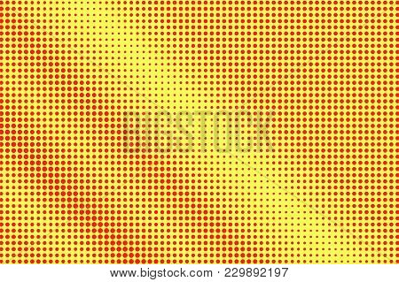 Yellow Red Dotted Halftone. Regular Contr Dotted Gradient. Half Tone Vector Background. Artificial T