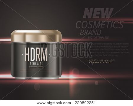 Realistic Cosmetic Cream Gold And Black Container  Illustration. Fashion And Beauty Professional Mak