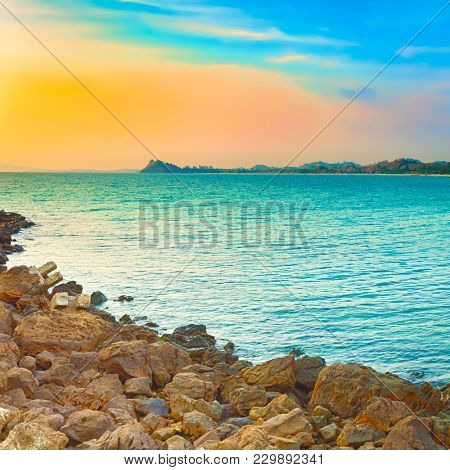 Seascape at sunset time. Beautiful landscape of the Indian ocean. Amazing view.