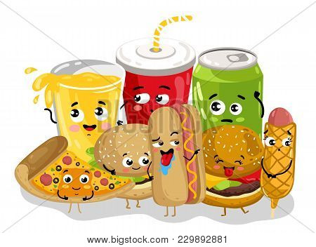 Cute Fast Food Menu Cartoon Character Isolated On White Background  Illustration. Funny Hot Dog, Bur