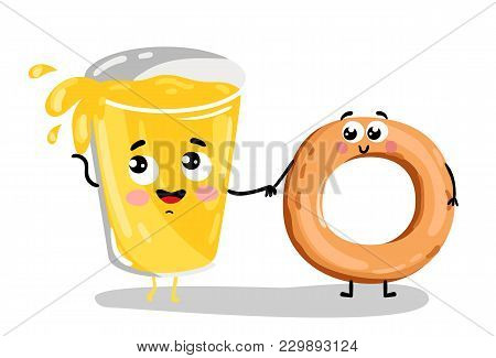 Cute Bagel And Lemonade Glass Cartoon Character Isolated On White Background  Illustration. Funny Fa