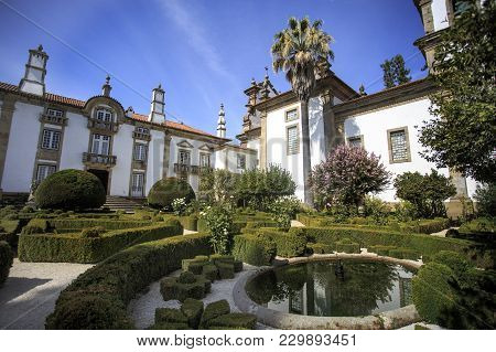 Vila Real, Portugal - September 22, 2017: View Of The Tailored Boxwood Hedges Of The Mateus Palace G
