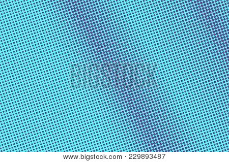 Blue Violet Dotted Halftone. Smooth Subtle Dotted Gradient. Half Tone Vector Background. Artificial