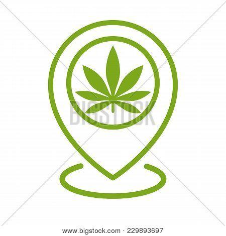 Marijuana Store Location Icon. Map Pointer. Cannabis, Marijuana Leaf. Weed Pinpoint. Vector Isolated