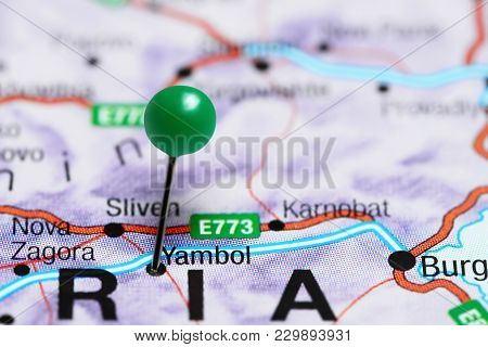 Yambol Pinned On A Map Of Bulgaria