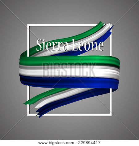Sierra Leone Flag. Official National Colors. Sierra Leone 3d Realistic Ribbon. Isolated Waving Vecto