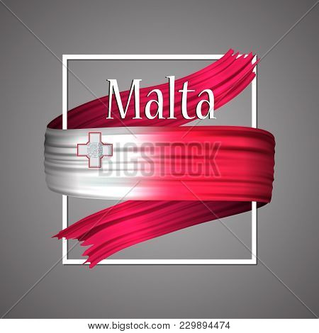 Malta Flag. Official National Colors. Maltese 3d Realistic Ribbon. Isolated Waving Vector Glory Flag